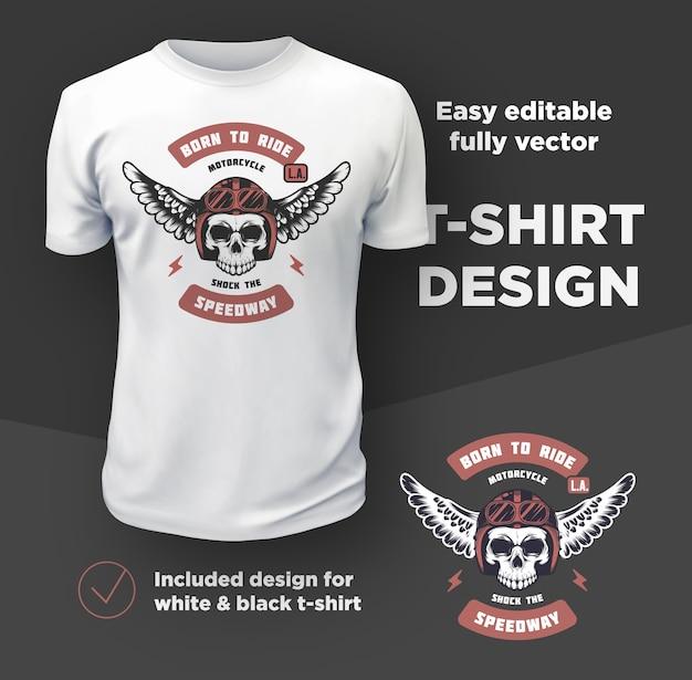 빈티지 미국 바이커 클럽 인쇄 디자인은 흰색 티셔츠 모형에 고립.