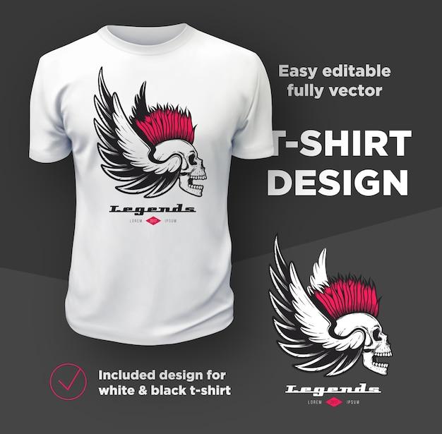 白いtシャツのモックアップに分離されたヴィンテージアメリカンバイカーズクラブのプリントデザイン。