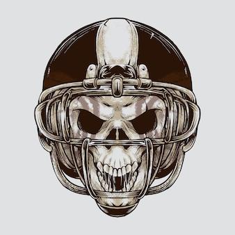 Vintage american football skull