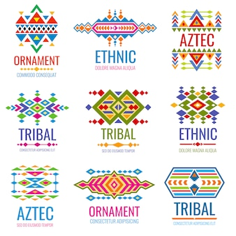 Vintage american indian vector logo set. business brand identity in tribal mexican style