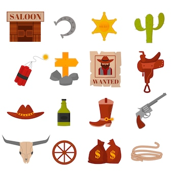 Vintage american old western designs sign and graphics cowboy vector icons.