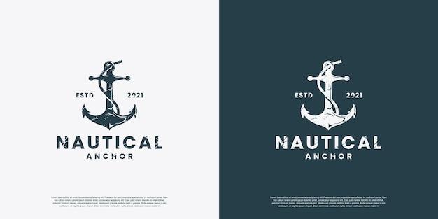 Vintage anchor logo design vector for nautical