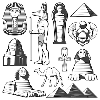 Vintage ancient egypt elements set