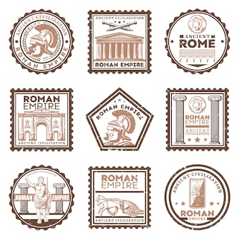 Vintage ancient rome civilization stamps set with inscriptions gladiator swords shield triumphal arch