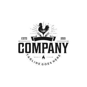 Винтаж и элегантный логотип ресторан барбекю вектор