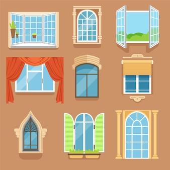 빈티지와 현대식 창문은 다양한 스타일과 형태로 설정되어 있습니다.