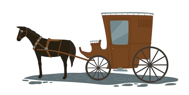 街のヴィンテージと昔ながらの交通機関、馬車を引く馬の孤立したアイコン。ロマンチックな旧市街の観光は通りに沿って歩きます。観光と休暇、中世。フラットスタイルのベクトル