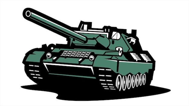 Винтаж и ретро танк логотип, плоский вектор иллюстрации