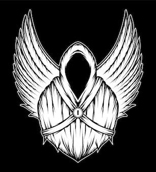 Винтажный ангел смерти с крыльями. премиум векторы