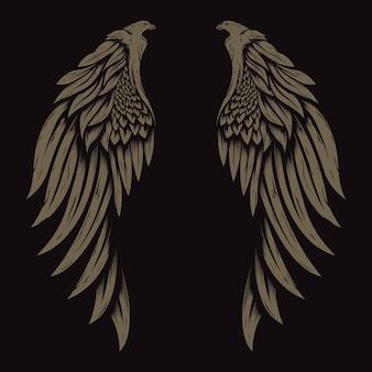 ヴィンテージ天使の羽イラストロゴデザイン