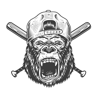 Vintage angry gorilla head in cap