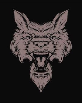 Винтажная сердитая голова волка в монохромном стиле, изолированных векторная иллюстрация
