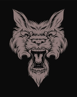 Vintage angry wolf head in monochrome style isolated vector illustration