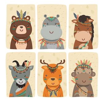 Винтажная иллюстрация коллекции персонажей животных