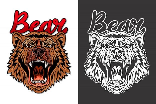 Vintage animal face bear illustration