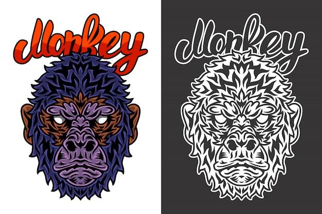 Vintage animal face monkey illustration