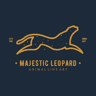Vintage animal logo majestic leopard line art