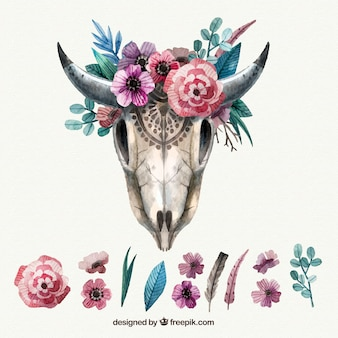 Vintage animal skull with floral decoration