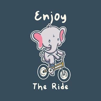 Vintage animal slogan typography enjoy the ride
