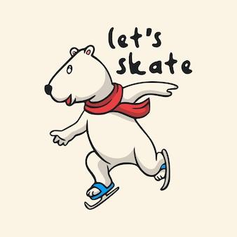 Vintage animal slogan typography let's skate