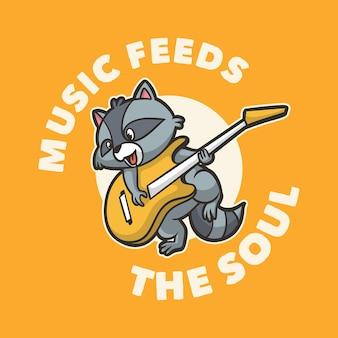 빈티지 동물 슬로건 타이포그래피 음악이 영혼을 채우다 프리미엄 벡터