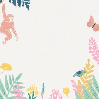Vintage animals frame colorful pastel jungle background