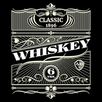 Vintage antique american whiskey vector label
