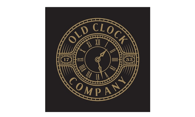 Vintage / antique old clock logo with steampunk style