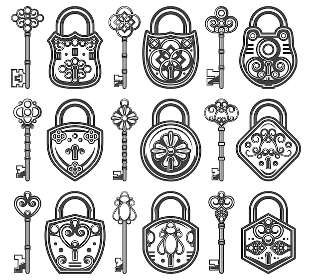 Vintage antique old locks set with different classic keys for each of padlocks
