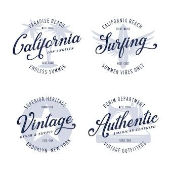 Vintage apparel typography design set.