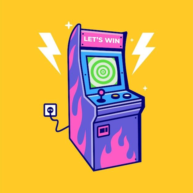 빈티지 아케이드 게임기 벡터 아이콘 그림 오래 된 비디오 게임 플레이