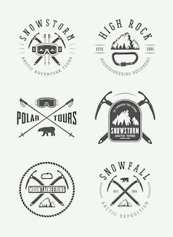Vintage arctic mountaineering logos