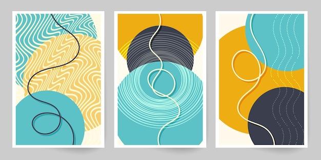 ヴィンテージ アート キャンバス。幾何学的な形と線のセット