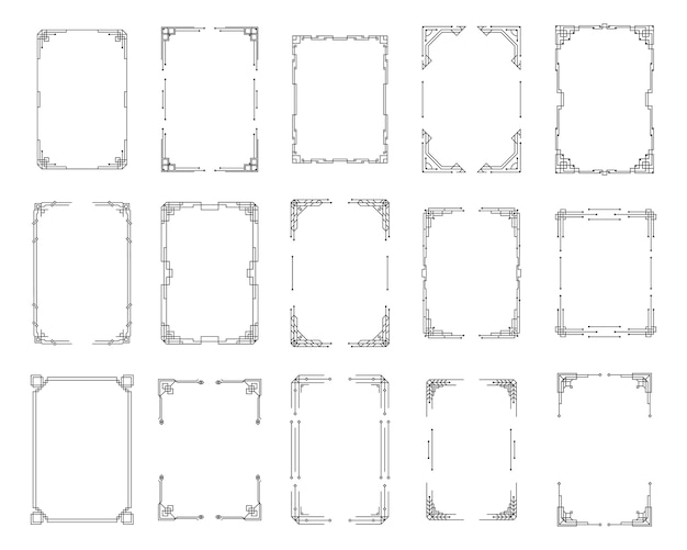 ヴィンテージアールデココーナーセット。 1920年代のスタイルで黒の幾何学的なテンプレート、ボーダーとフレームのアールデココーナー。招待状、渦巻き要素、バロックインクアートワークの挨拶。