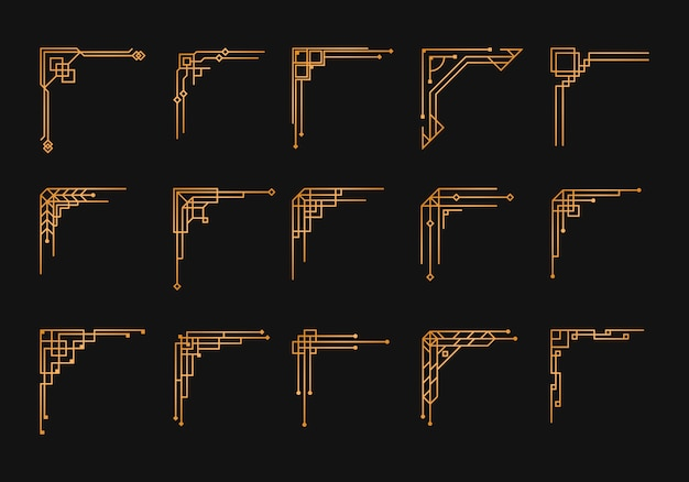 Урожай арт-деко угловой набор. золотой геометрический шаблон в стиле 1920-х годов, уголки артдеко для границ и рамок. приглашение, элементы приветствия водоворота, произведения искусства туши барокко.