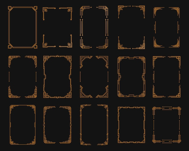 ヴィンテージアールデココーナーセット。 1920年代のスタイル、境界線とフレームのアールデココーナーで黄金の幾何学的なテンプレート。招待状、渦巻き要素、バロックインクアートワークの挨拶。