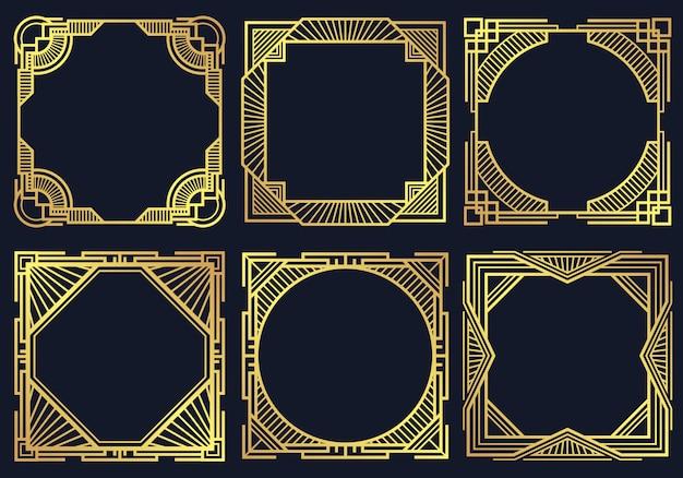 Vintage art deco design elements, old classic border frames collection.