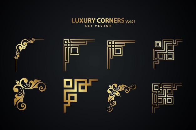 Vintage art deco luxury corner set. geometric template for borders and frames
