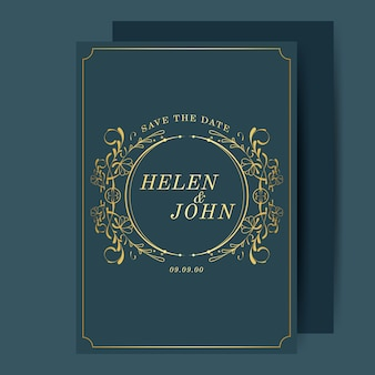 Vintage art nouveau wedding invitation card mockup vector