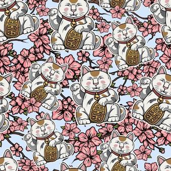 Винтажные азиатские красочные бесшовные модели с счастливыми кошками и ветвями сакуры с цветами