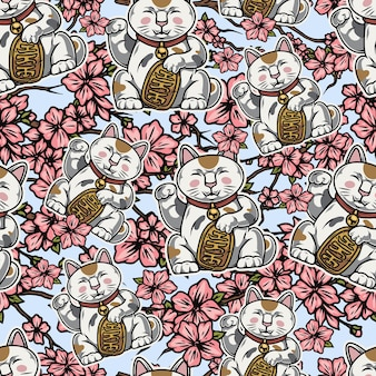 Vintage asian colorful seamless pattern with lucky cats and sakura branches with flowers