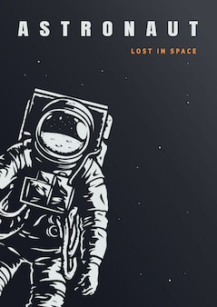Vintage astronaut poster template