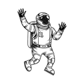 Astronauta vintage in tuta spaziale che esplora l'illustrazione di vettore dell'universo. cosmonauta monocromatico nello spazio aperto.