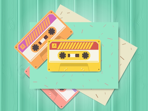 Vintage audio cassette music of the 80s and 90s