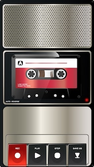 Vintage audio tape recorder with chrome texture