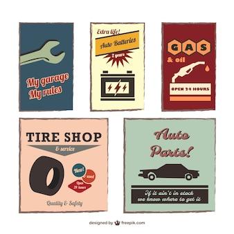 Vintage auto emblems set