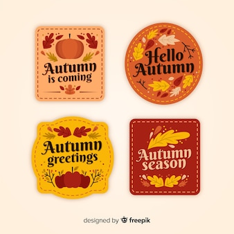 Vintage autumn badge collection