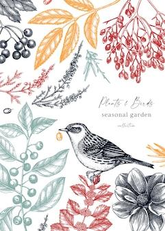 Винтажный осенний дизайн с птицей элегантный ботанический шаблон с осенними листьями