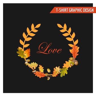 ヴィンテージの秋の花のグラフィック デザイン