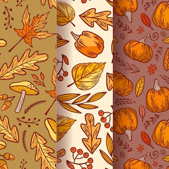 Vintage autumn pattern collection